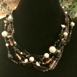 Lia Sophia Multistranded/white and black necklace